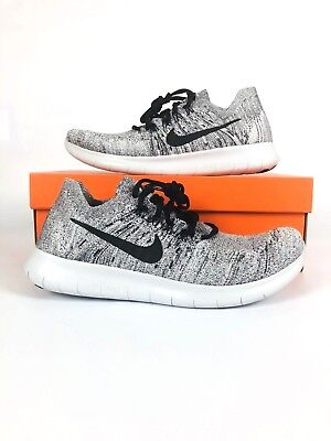 competitive price 2ec9e 3d1b3 Nike Free RN Flyknit 2017 White Black Stealth Grey 880843-101 Mens Running  Shoe
