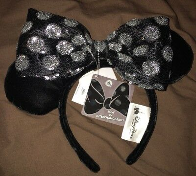 Interchangeable Bow Minnie Mouse Ears Disney Parks Black Silver Sequin NWT