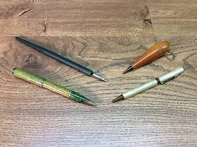 Vintage Lot Of 4 Fountain Pens And Mechanical Pencil For Parts Or Repair B6