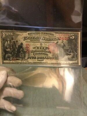 """Awesome RARE Crisp VF++ 1875 $5 """"FIRST CHARTER"""" Canton,OH National Note!"""
