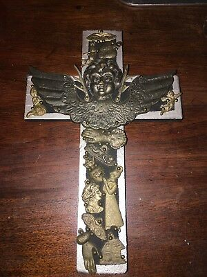 Milagro Cross Mexican Folk Art Signed K Rosin on Back of Cross Perfect Shape
