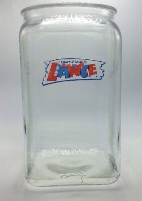 "Vintage Lance Cracker Cookie Jar Glass Store Counter 13"" Tall Blue Red No Lid"