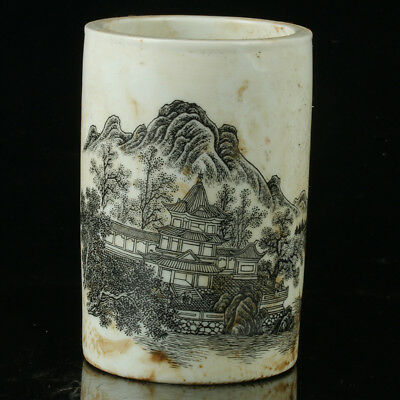 Chinese Porcelain Hand-painted Landscape Painting Brush Pot W Qianlong Mark +a