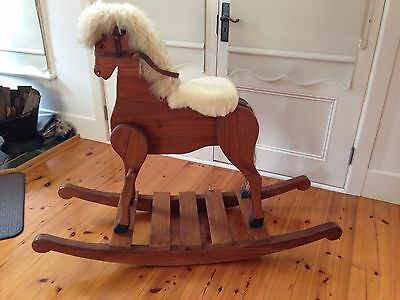 Timber Rocking Horse. Lambswool Mane and Saddle. As New
