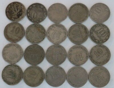 10 Centavos Argentina 1899-1938 Coin Lot Of 20 World Combined Shipping D38