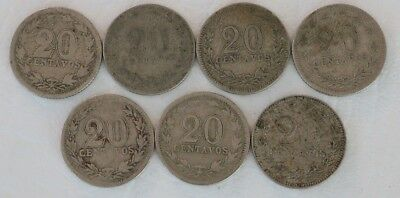 20 Centavos Argentina 1897-1918 Coin Lot 7 Rare Key Dates 1899 Combined Ship D37