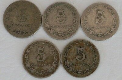 5 Centavos Argentina 1896-1912 Coin Lot Of 5 Rare Key Date Combined Shipping D35