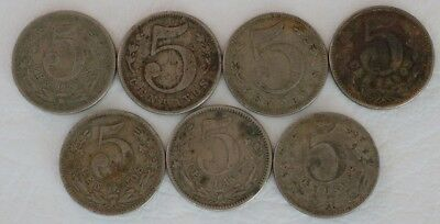 5 Centavos Colombia 1886-1888 Coin Lot Of 7 World Foreign Combined Shipping D27