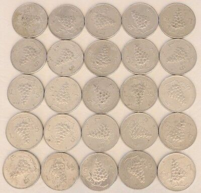 5 Lire Italy 1949-1950 Coin Lot Of 25 Aluminum World Foreign Combined Ship D15