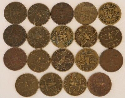 5 Centesimi Italy 1938-1942 Coin Lot Of 19 World Foreign Combined Shipping D13