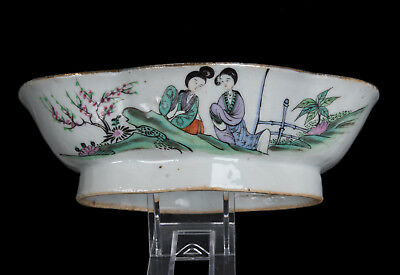 China 19. Jh. Fußschale Qing -A Chinese Famille Rose Porcelain Footed Dish Chine