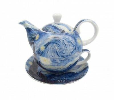 Van Gogh Starry Night Teapot Tea Pot Tea For One Fine Bone China w Gift Box
