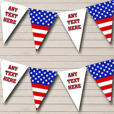 Party Banner Bunting Stars Stripes American Flag USA Personalised Birthday
