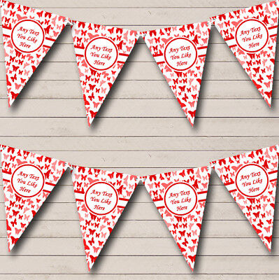 Party Banner Bunting Beautiful Red Butterfly Personalised Shabby Chic Garden Tea