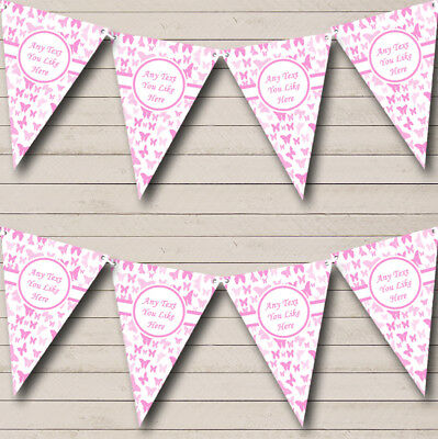 Party Banner Bunting Beautiful Pink Butterfly Shabby Chic Garden Tea