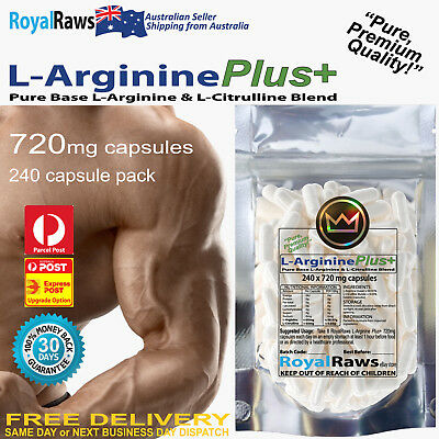 L-Arginine Plus+ 5760mg per serve 240 capsules 30 Day Supply Nitric Oxide (NO)