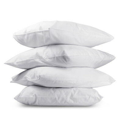 Set of 4 Family Pack Bed Pillows Firm Support Cotton Cover Standard Pillow