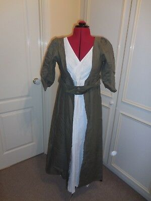 Regency costume - cross front white cotton back dress with olive green coat