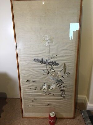chinese antique silk hand embroidery Panel