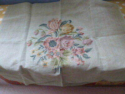 Vintage large floral design wool tapestry cushion chair cover canvas