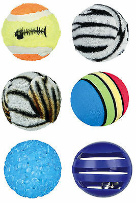 Set of 6 Toy Balls Cat & Kitten Fun Play Toys Different Sizes & Textures