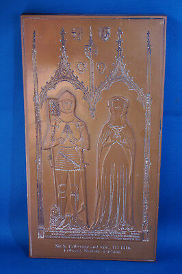 An antique replica medieval tomb brass, Sir S. Felbrygge and wife, Knight, 1416