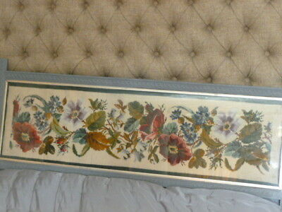 Vintage stunning floral design embroidery wool tapestry old wood frame headboard