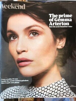 GEMMA ARTERTON cover and interview Guardian UK Weekend Magazine July 14 2018.