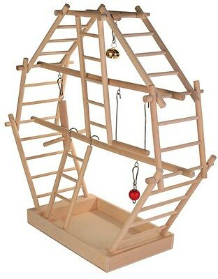 Wooden Ladder Climbing Frame Playground for Birds Budgie Canary Swing Toys