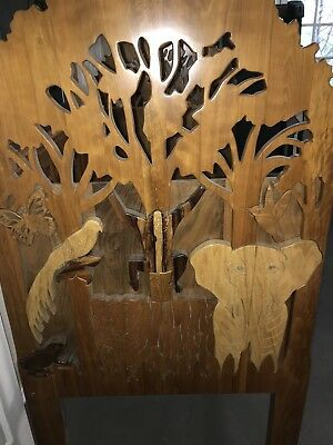 Vintage Custom Made Solid Exotic Wood Day Bed Scroll Cut Safari Animals Unique