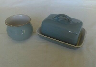 Denby Colonial Blue Butter Dish with Lid & Small Sugar Bowl - Pre-owned