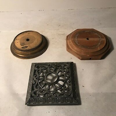 Antique assorted lot of ornate wood metal brass electric table lamp base