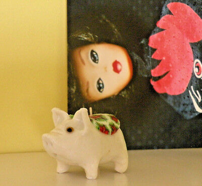 """PIG-PIG Decorative Candle VTG MILLEFIORI """"Holly & Ivy"""" White w/Bead Eyes 3-1/2"""""""