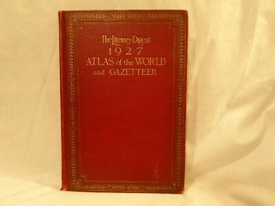 Vintage 1927 Atlas Of The World And Gazetteer Literary Digest Funk & Wagnalls