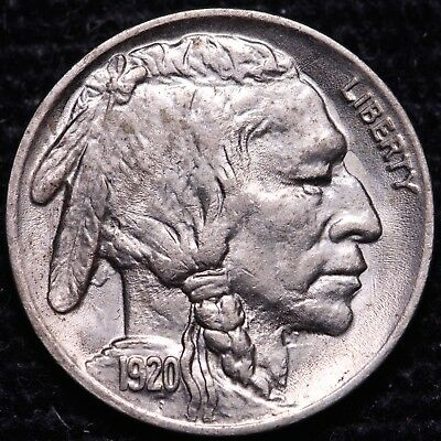 Nice High Grade 1920 Buffalo Nickel W/ Die Clashes       *Lot TCi/CiSi*