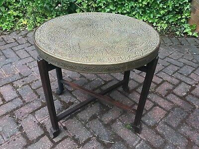 Antique vintage Moroccan Middle Eastern brass folding side table