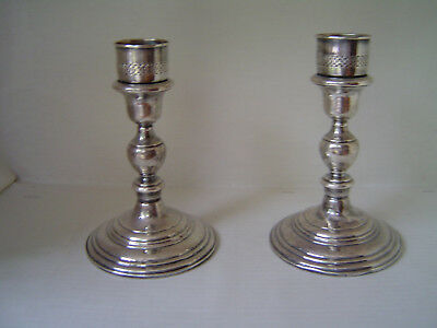 Pair (2) Vintage Cartier Sterling Silver Weighted Candlesticks No 2760
