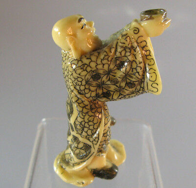 Vintage Netsuke Hand Carved Figure In Ancient Traditional Japanese Art Shunga NR