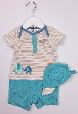 Baby Boys M&Co Applique Elephant Shorts Romper & Cap/Hat 0-3 Mths BNWT Comb Post