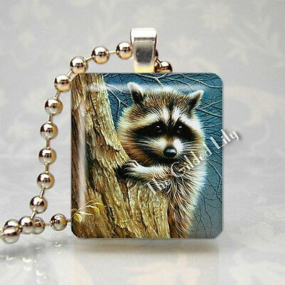 RACCOON IN TREE FOREST ANIMAL Scrabble Tile Altered Art Pendant Jewelry Charm
