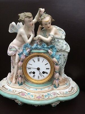 Antique French Porcelain Mantel Clock