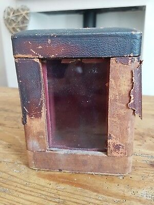 Vintage Carriage Clock Case, Wooden With Glass Front