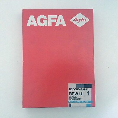 AGFA Record Rapid 1 b/w Baryta Paper 17.8 x 24 cm box 100 sheets box new sealed