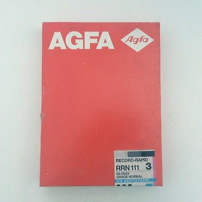 AGFA Record Rapid 3 b/w Baryta Paper 17.8 x 24 cm box 100 sheets box new sealed