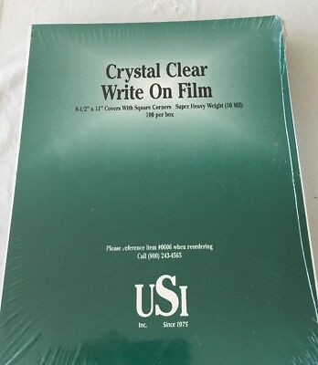 NEW USI Crystal Clear Write On Film 8.5 x 11 Inches 100 Sheets