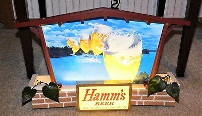 1960s HAMM'S Beer 5 FLYING GOBLETS In Sky Brick House SIGN (EX+) Must See!!! WOW
