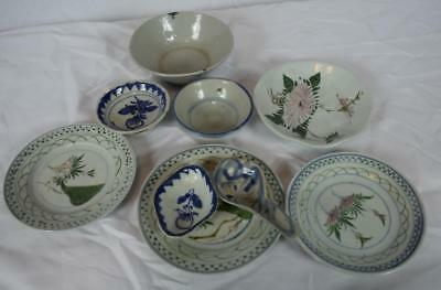 Group of Antique Chinese Dishes and Spoons