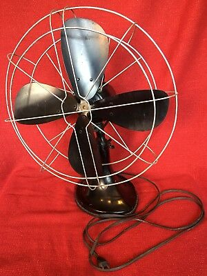 """Large Antique Cast Iron HUNTER Electric Fan 16"""" Blades Oscillating Working EXC"""