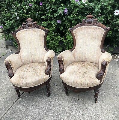 Pair of John Jelliff Antique 19th c Rococo Revival Carved Walnut Armchairs