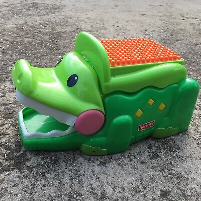 """FISHER PRICE """"Green"""" Crocodile Shaped Stack & Smile Toy Storage Container"""